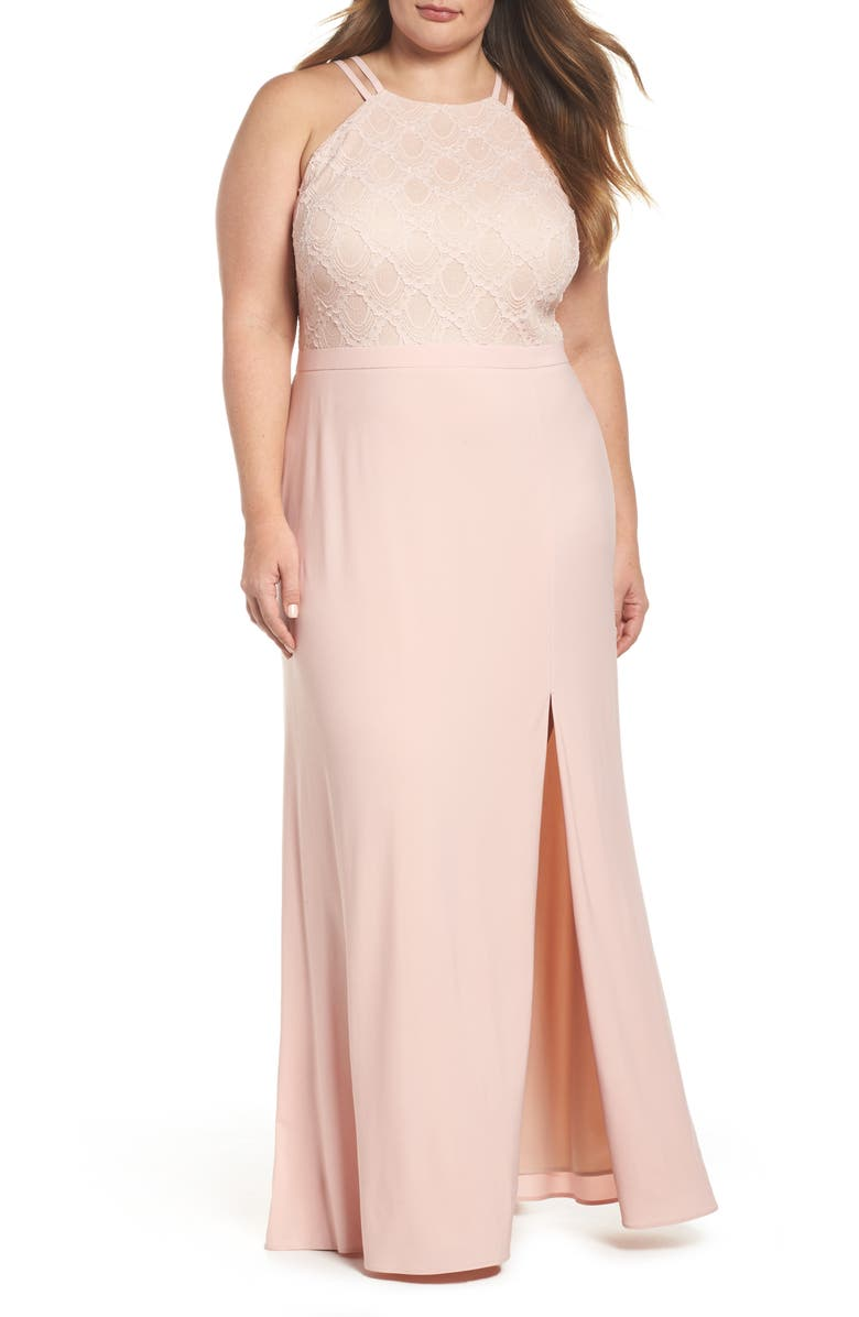 MORGAN & CO. Lace Bodice Gown, Main, color, BLUSH/ NUDE