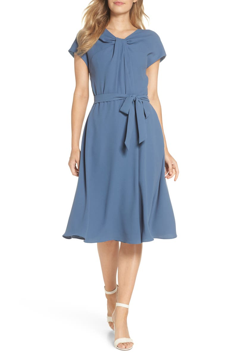 GAL MEETS GLAM COLLECTION Vivian Twist Neck Fit & Flare Dress, Main, color, 400