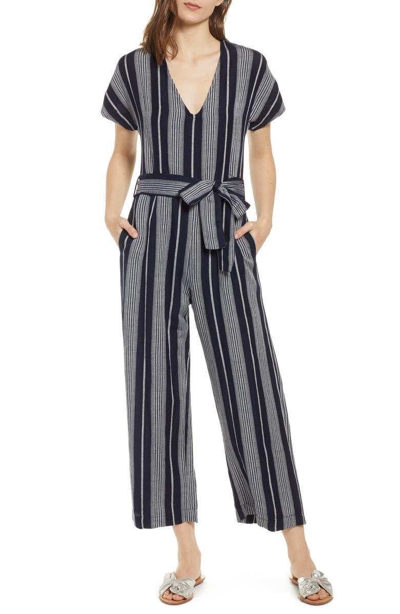 RAILS Angela Stripe Short Sleeve Jumpsuit, Main, color, 001