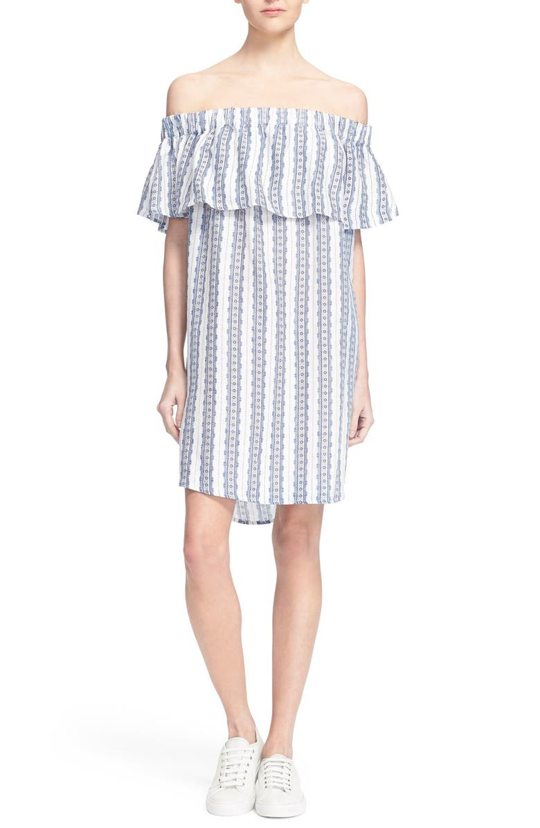 SEA Stripe Off the Shoulder Linen Dress, Main, color, 400