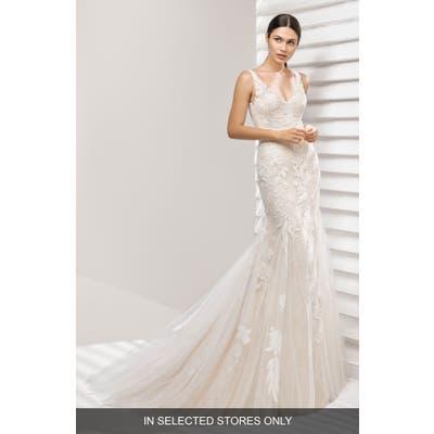 Rosa Clara Aurelia Lace Mermaid Gown, Size - Ivory