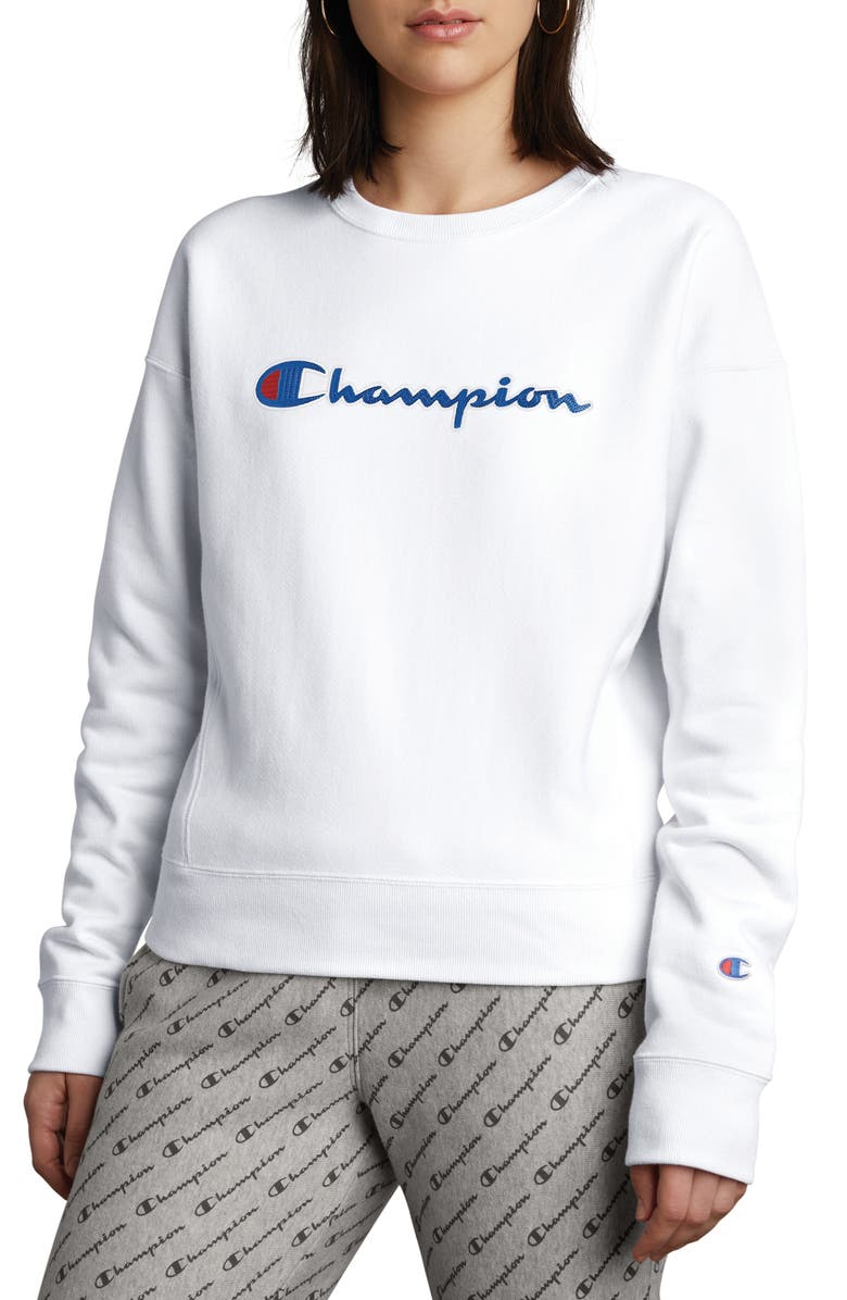 CHAMPION Logo Sweatshirt, Main, color, WHITE