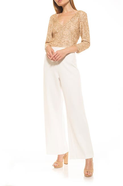 Image of Alexia Admor 3/4 Length Sleeve Embroidery Jumpsuit