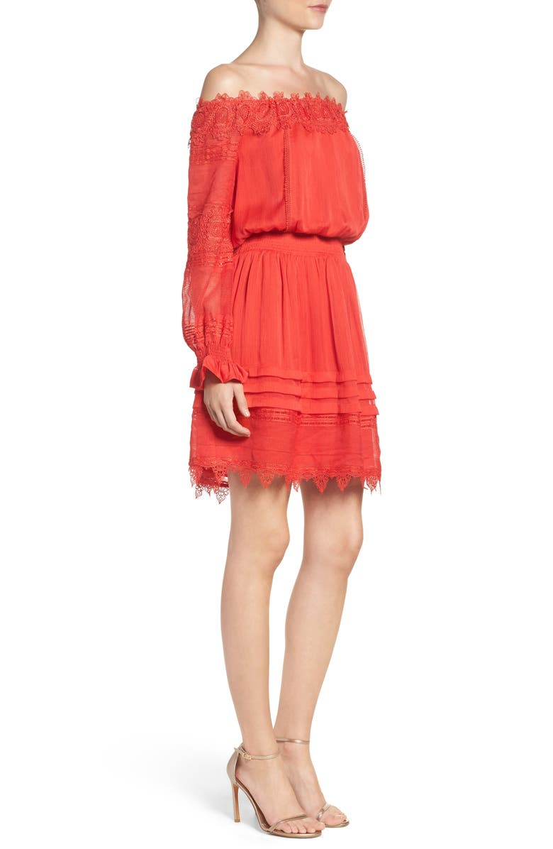 ADELYN RAE Off the Shoulder Lace Dress, Main, color, 600