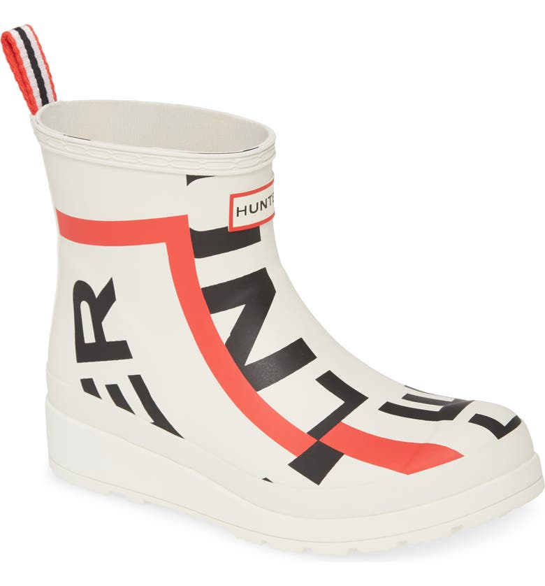 HUNTER Original Exploded Logo Short Rain Boot, Main, color, WHITE