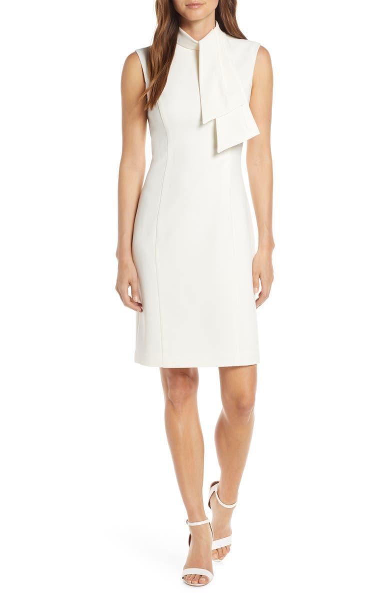 HARPER ROSE Tie Neck Sheath Dress, Main, color, CREAM
