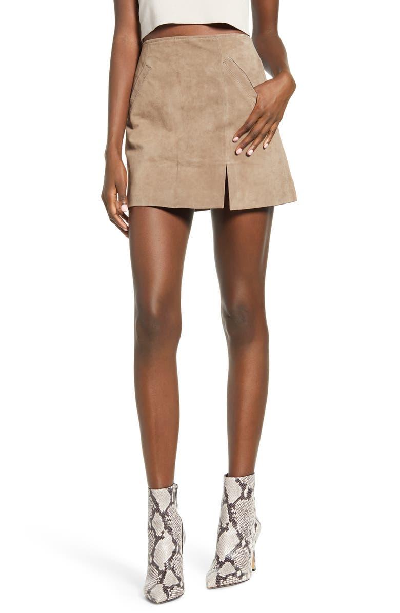 BLANKNYC Suede Miniskirt, Main, color, SAND STONER