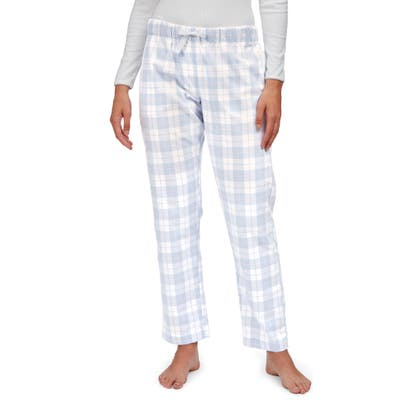 The White Company Check Brushed Cotton Flannel Pajama Pants, Blue