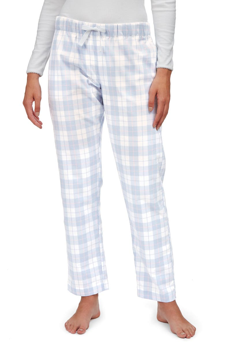 THE WHITE COMPANY Check Brushed Cotton Flannel Pajama Pants, Main, color, BLUE AND PINK CHECK