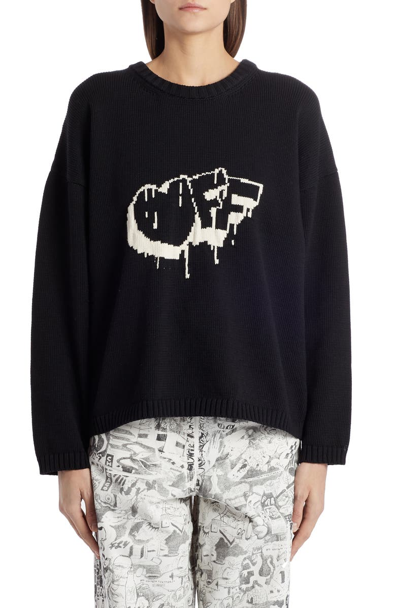 OFF-WHITE Bubble Arrow Crewneck Sweater, Main, color, BLACK WHITE