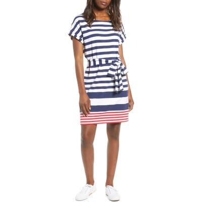 Vineyard Vines Sea Stripe Upf Tie Front Knit Dress, Blue