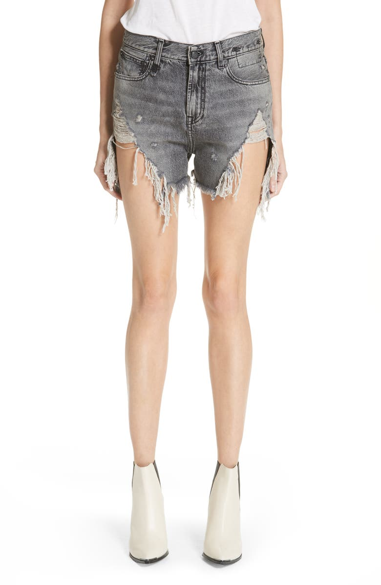 R13 Shredded Slouch Denim Shorts Leyton Black