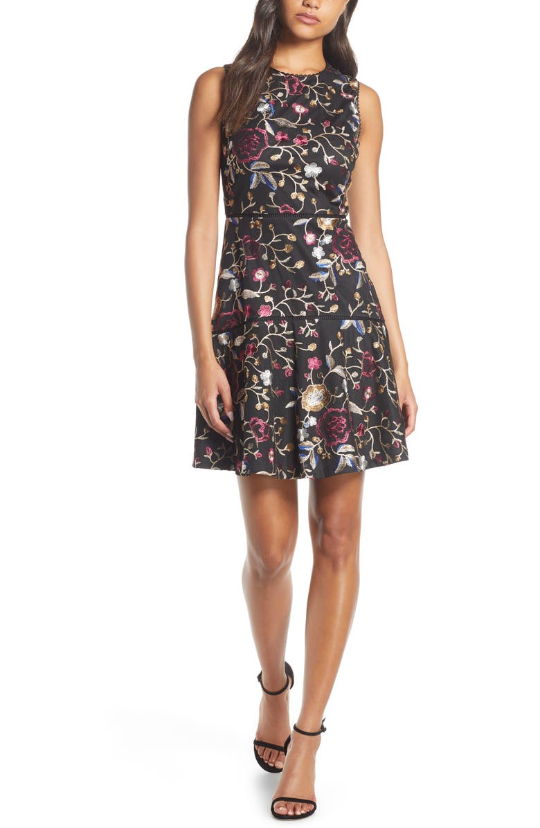 VINCE CAMUTO Embroidered Mesh Fit & Flare Dress, Main, color, BLACK MULTI