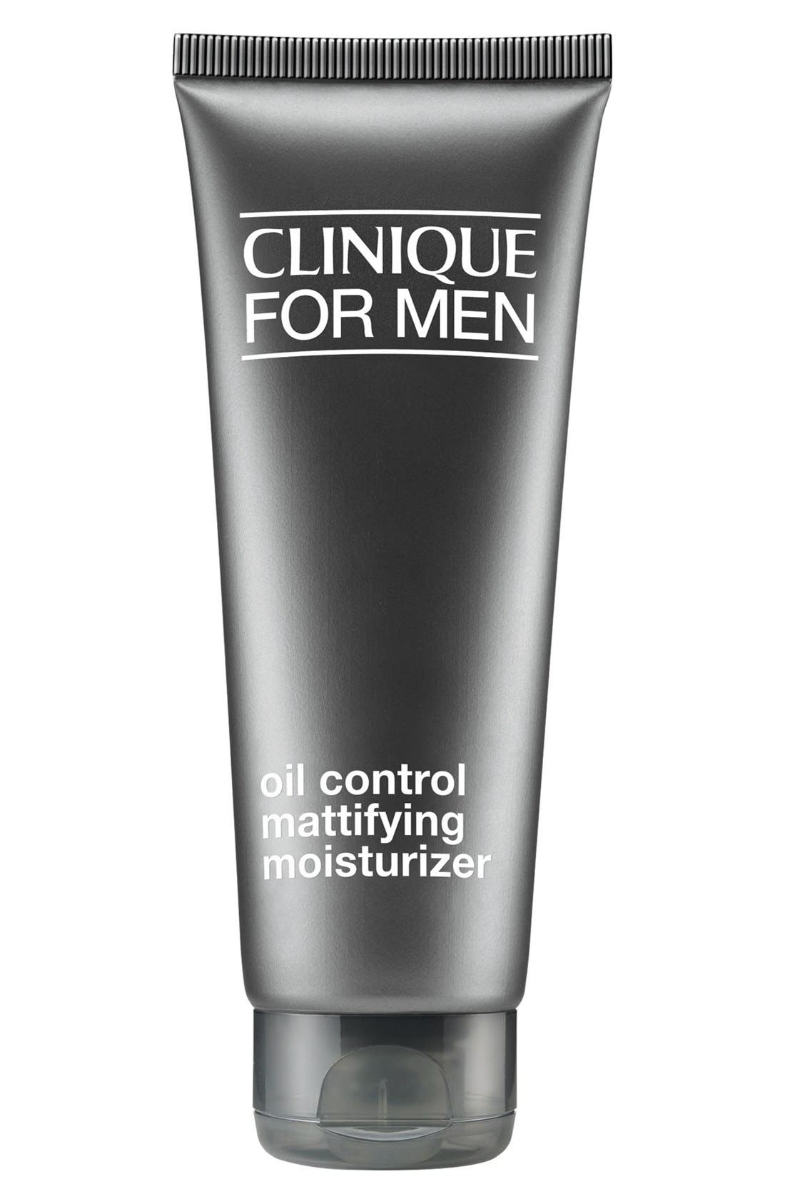 What it is: A lightweight moisturizer for men that controls oil while giving skin a matte, shine-free look. What it does: With repeated use, the oil-free formula helps improve your skin\\\'s overall strength. How to use: Smooth onto face and neck- 3.4 oz- 100% fragrance-free; oil-free- Allergy tested Style Name: Clinique For Men Oil Control Mattifying Moisturizer. Style Number: 375634. Available in stores.