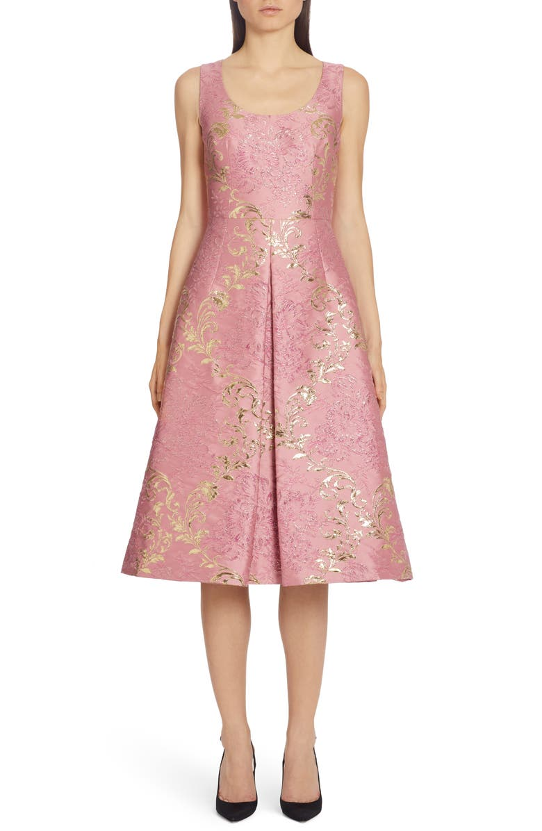 DOLCE&GABBANA Metallic Brocade Midi Dress, Main, color, PINK