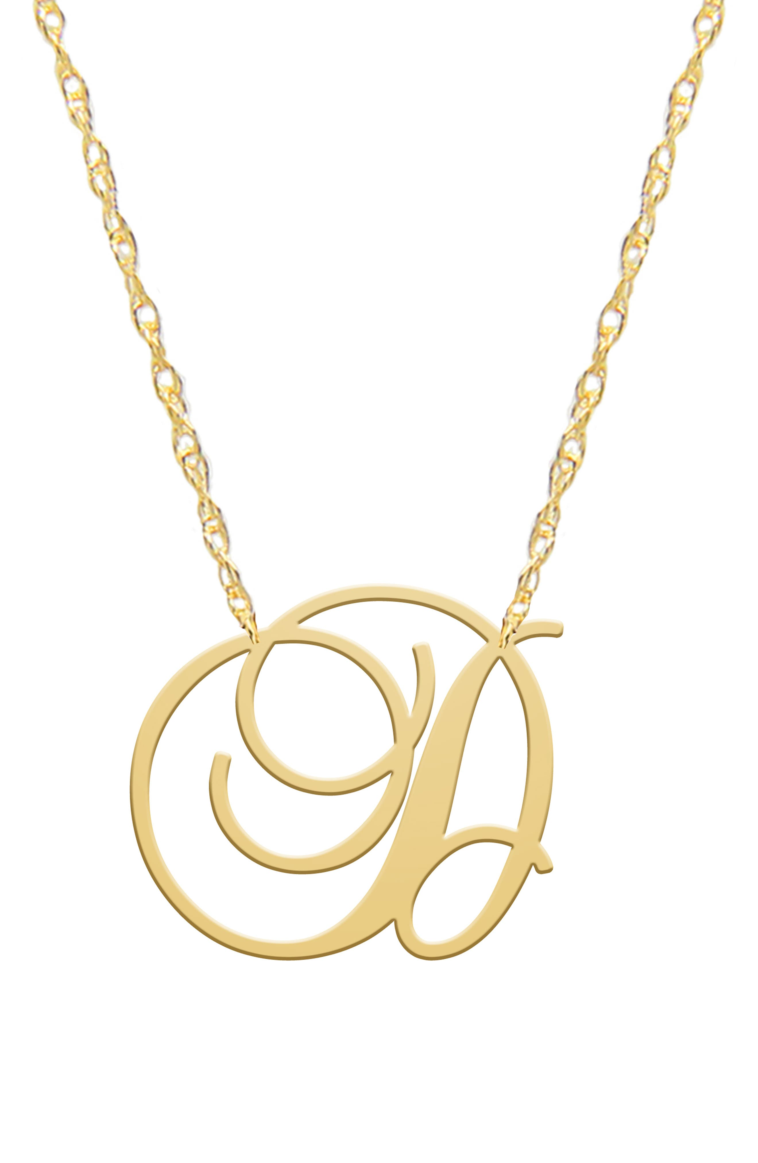Opt for classy personalization with this 14k-gold plated necklace featuring an ornate cursive letter stationed on an adjustable rope chain. Style Name: Jane Basch Designs Swirly Initial Pendant Necklace. Style Number: 5844751. Available in stores.