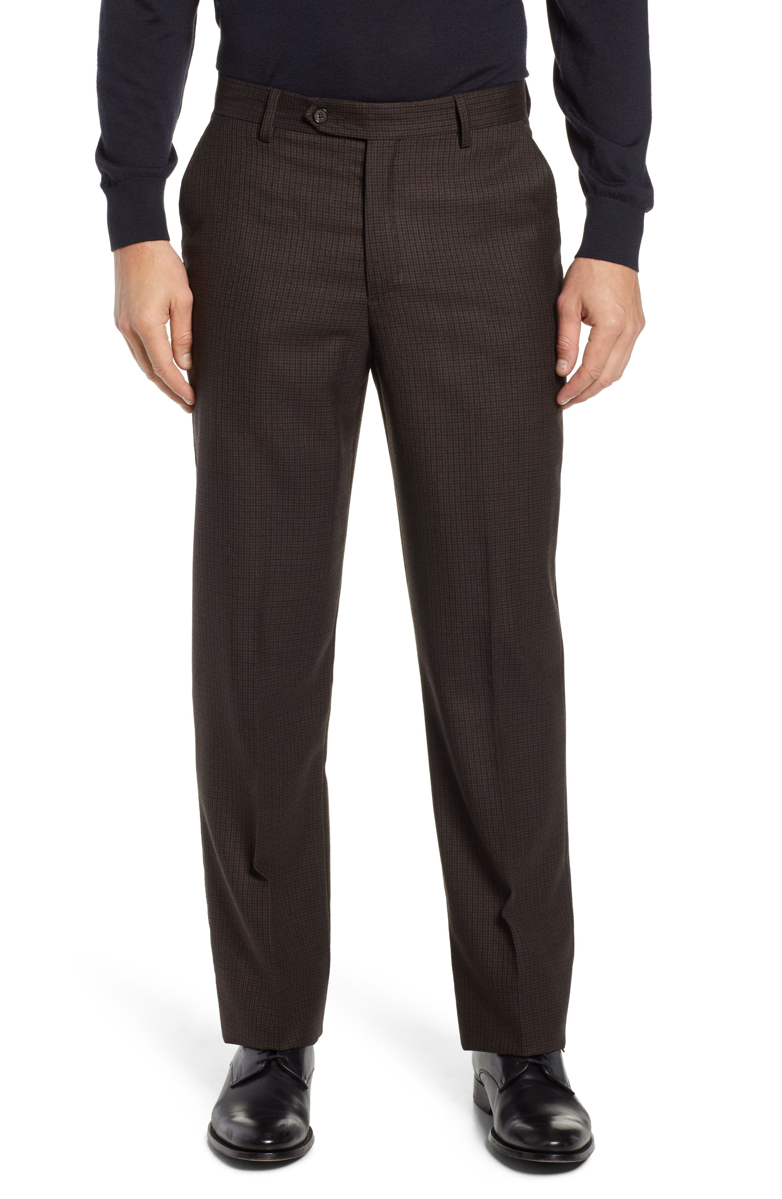 A crisp check grid defines classic trousers crafted from super 100s wool in a classic flat-front cut. Style Name: Berle Manufacturing Flat Front Check Wool Trousers. Style Number: 5710716. Available in stores.