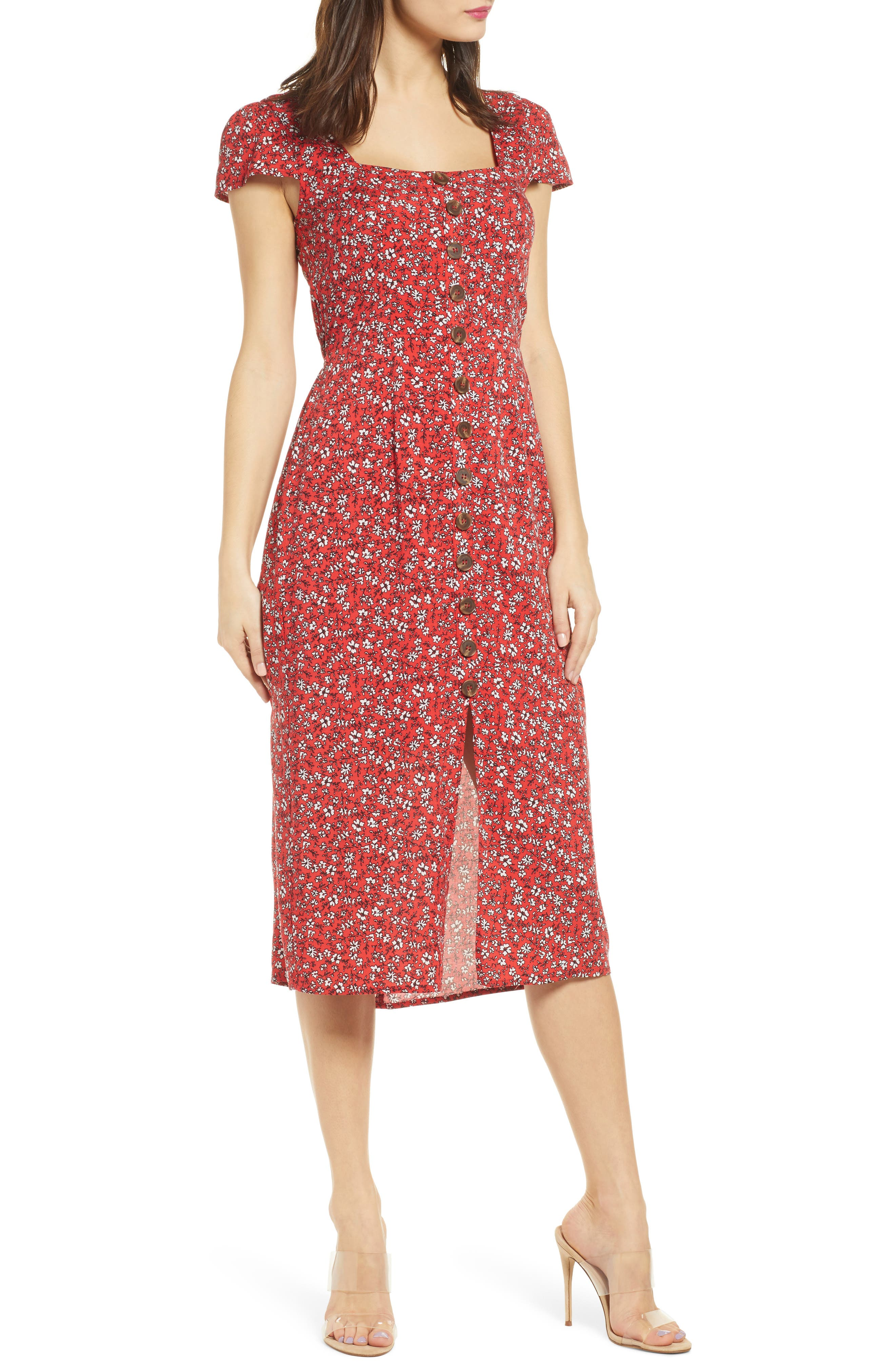 Row A Button Front Midi Dress, Red