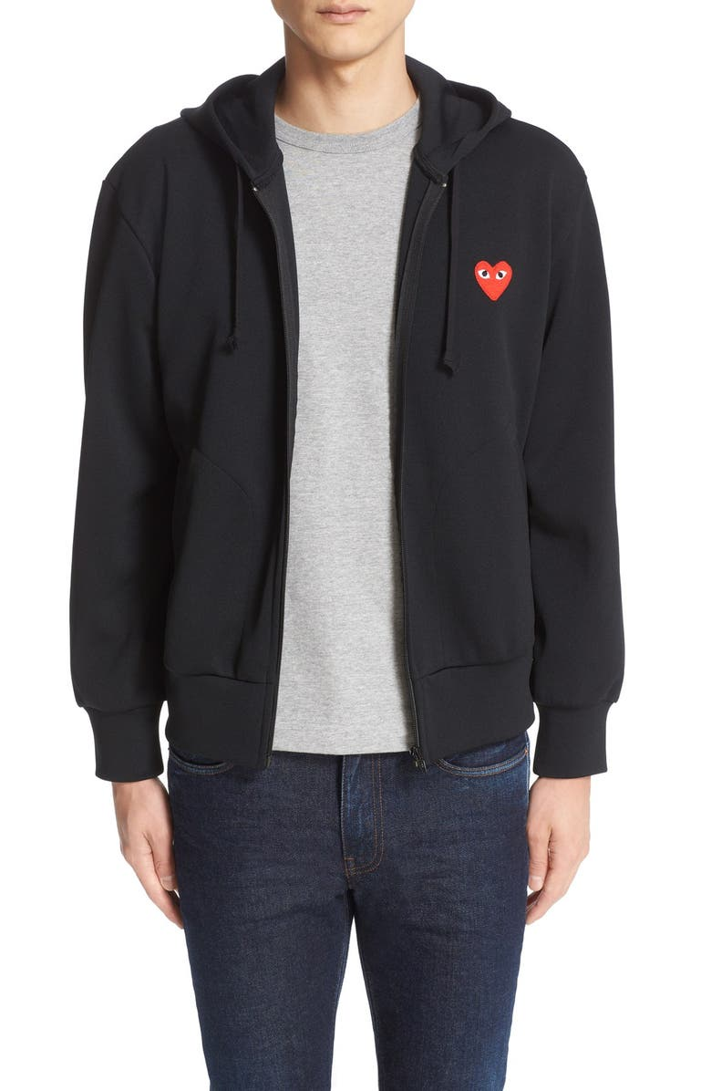 COMME DES GARÇONS PLAY Zip-Up Hoodie, Main, color, BLACK