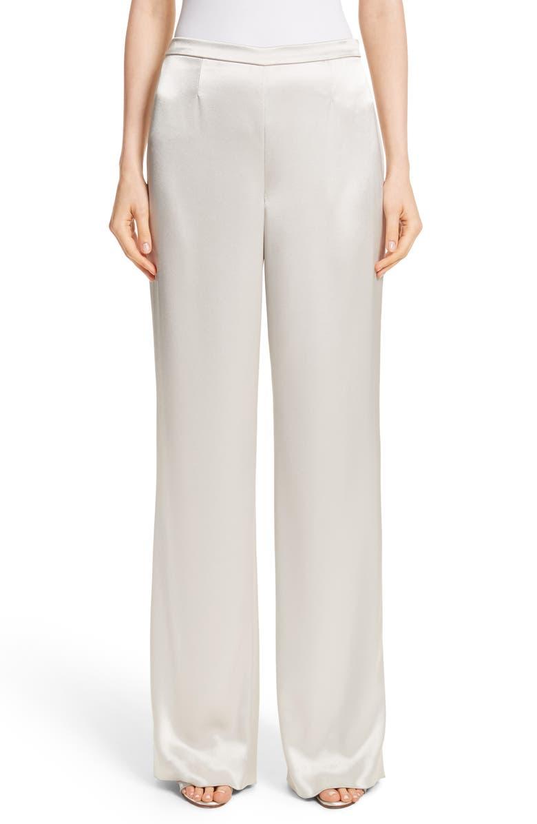ST. JOHN COLLECTION Liquid Satin Pants, Main, color, PLATINUM