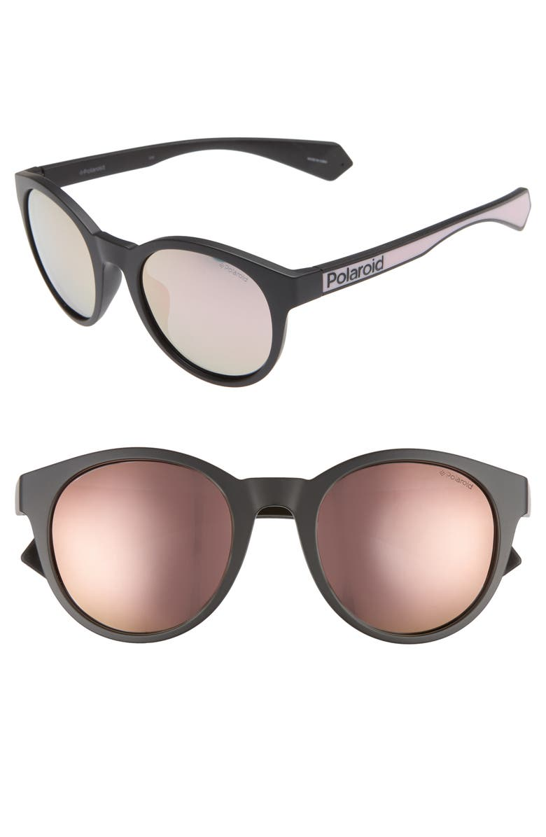 POLAROID EYEWEAR Polaroid 52mm Polarized Mirrored Round Sunglasses, Main, color, BLACK/ PINK