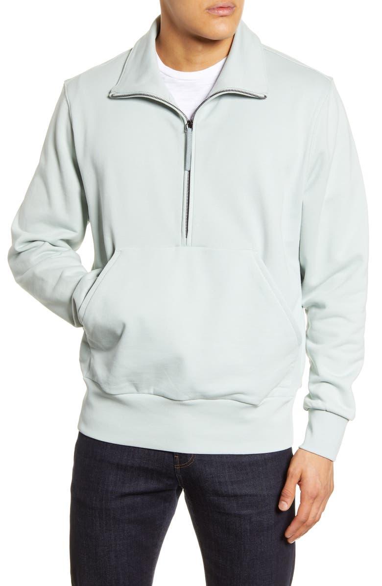 BOSS Sidney Half Zip Pullover, Main, color, LIGHT/ PASTEL GREEN