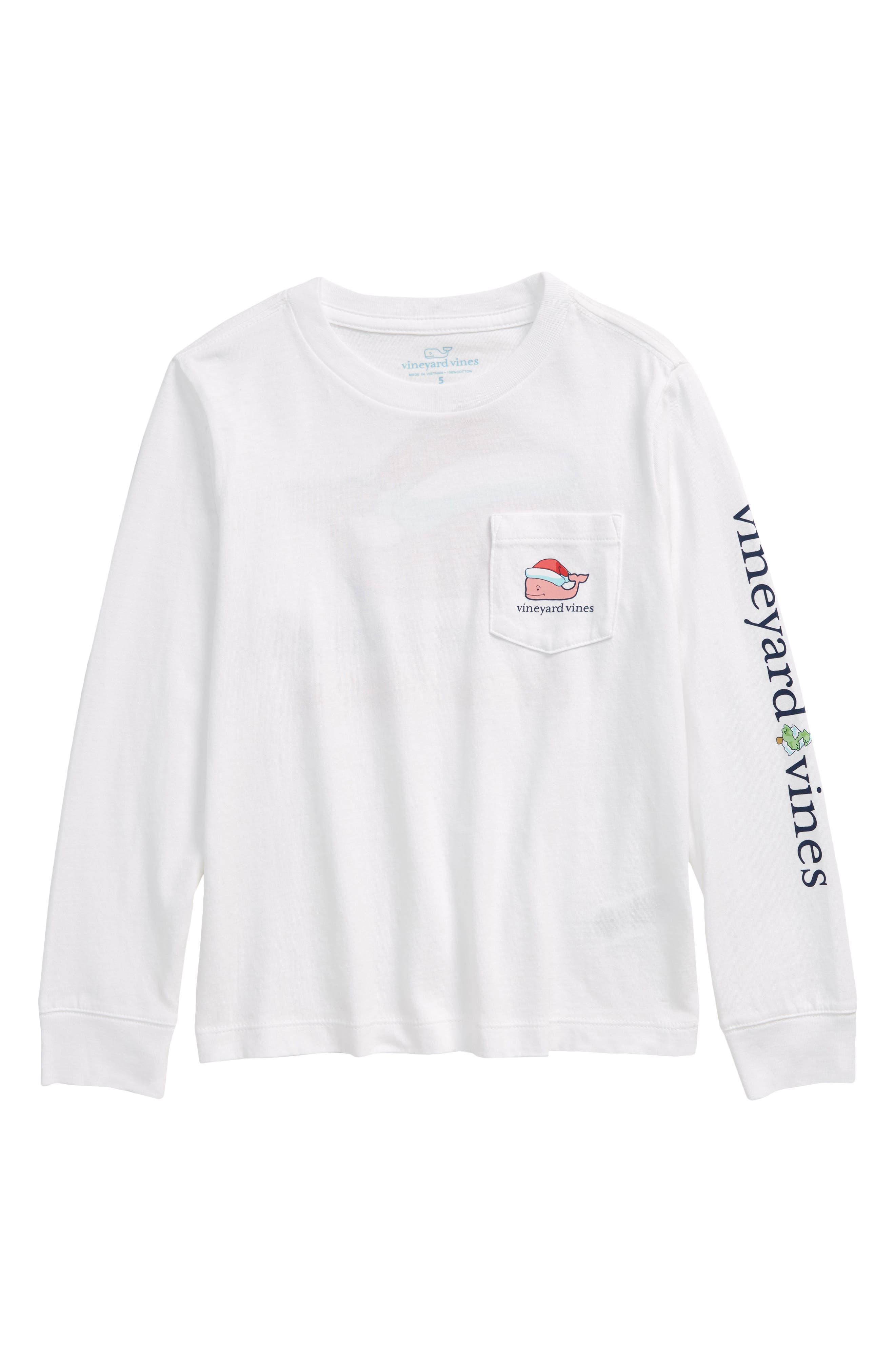 Toddler Boy's Vineyard Vines Kids' Christmas Whale Long Sleeve Pocket T-Shirt, Size 4T - White