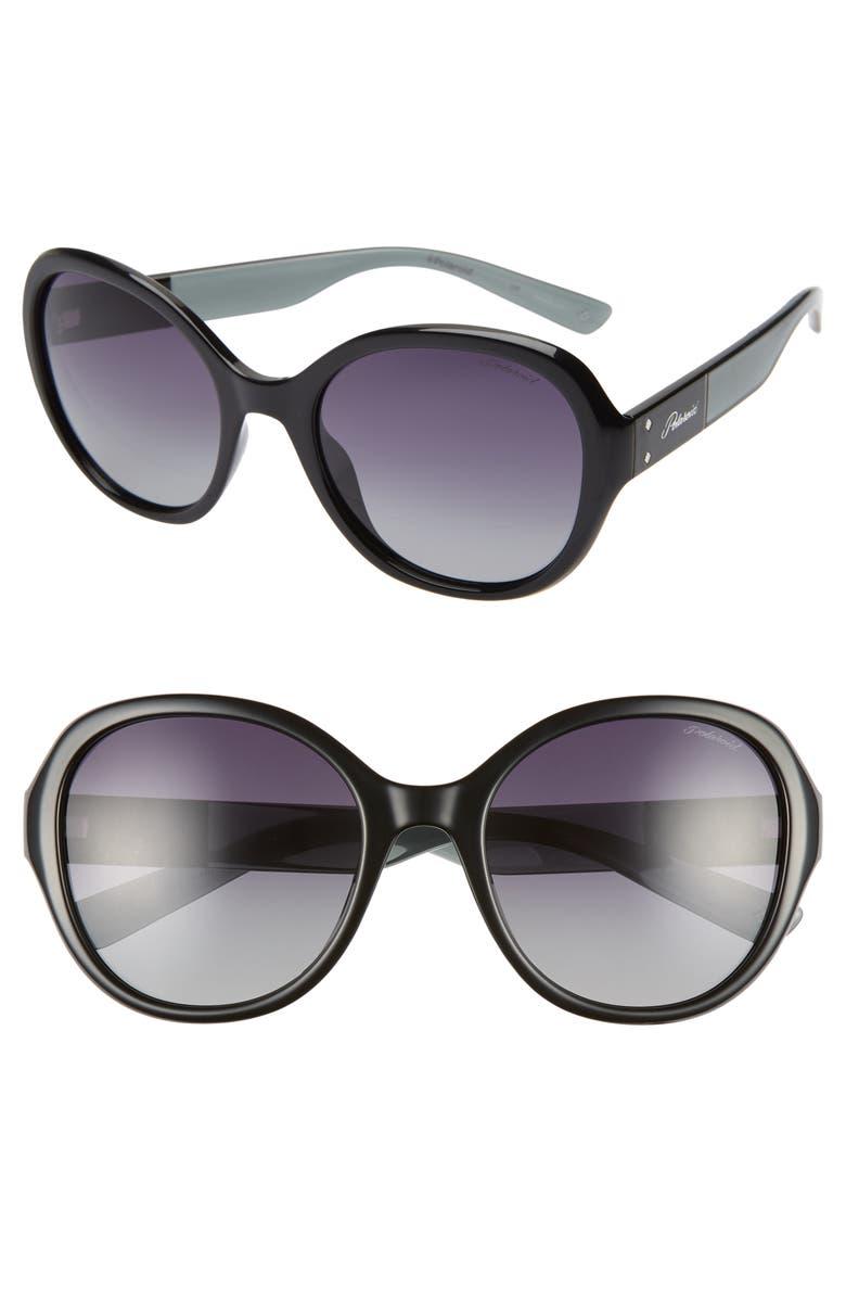 POLAROID EYEWEAR Polaroid 55mm Polarized Round Sunglasses, Main, color, 001