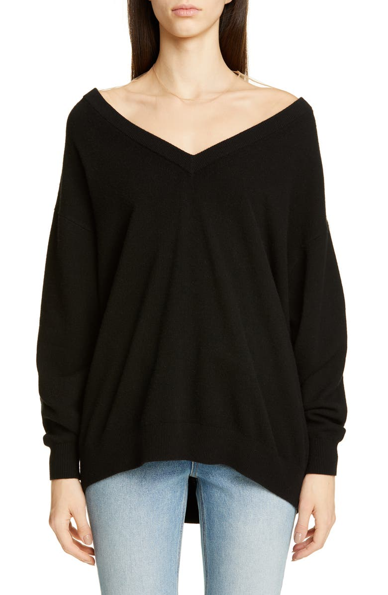 ALEXANDER WANG Illusion Neck Sweater, Main, color, 001