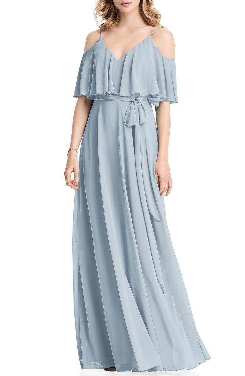 JENNY PACKHAM Cold Shoulder Chiffon Gown, Main, color, MIST