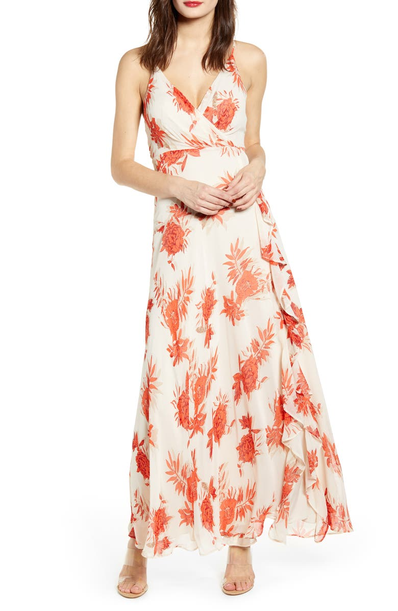 ASTR THE LABEL Floral Ruffle Detail Maxi Dress, Main, color, RED/ TAUPE FLORAL