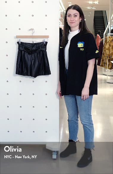 Leather Paperbag Waist Shorts, sales video thumbnail