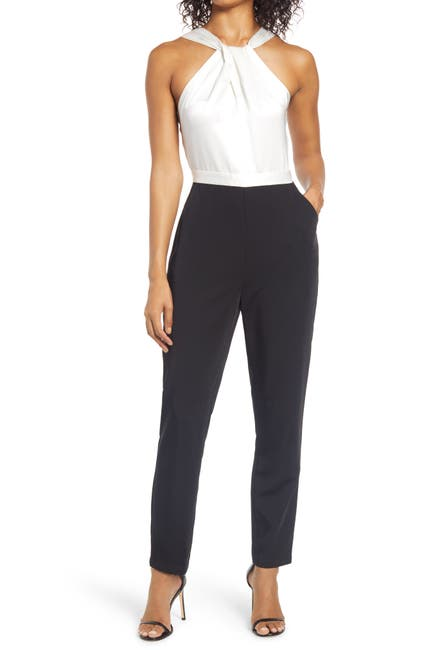 Image of Adelyn Rae Priscilla Two-Tone Halter Neck Jumpsuit