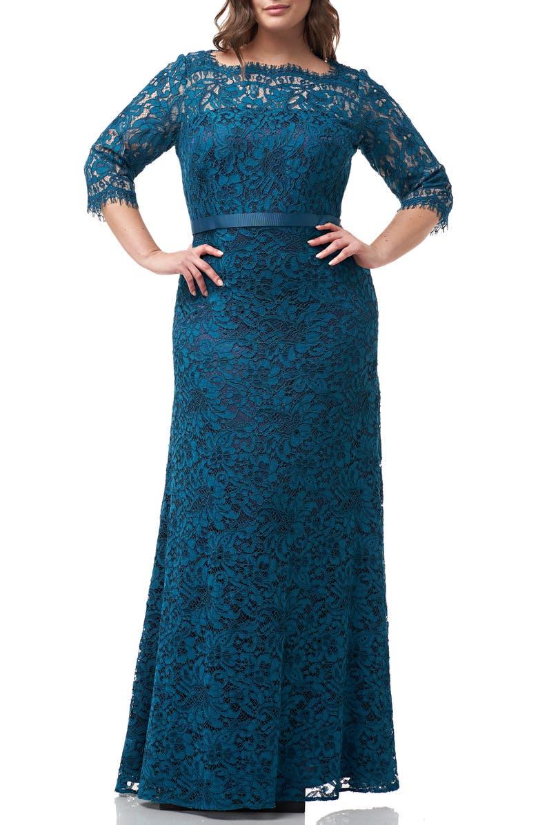 JS COLLECTIONS Bateau Neck Lace Gown, Main, color, TURQUOISE NAVY