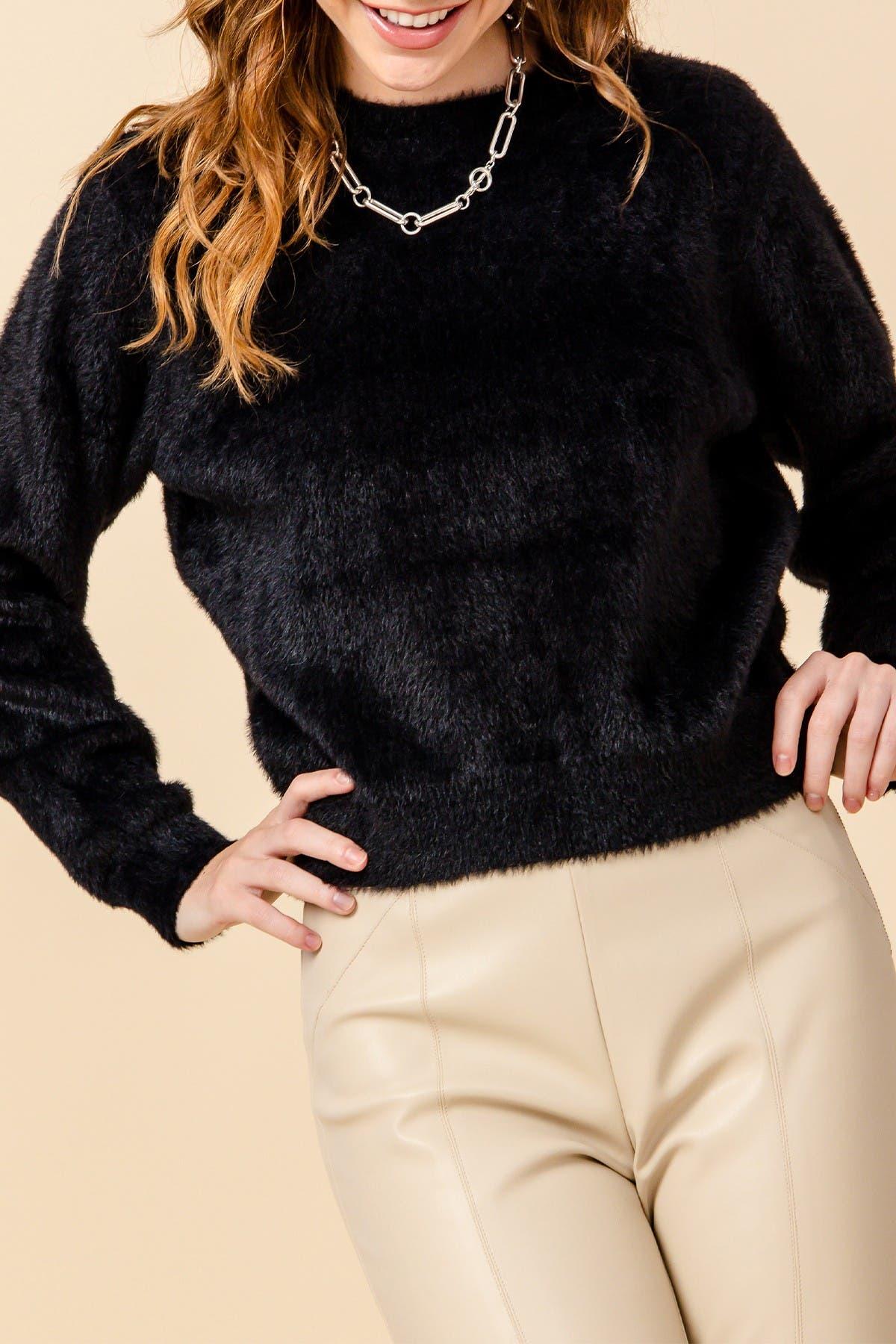 Image of Double Zero Fuzzy Crew Neck Long Sleeve Sweater