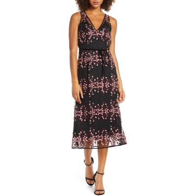 Foxiedox Ziva Floral Embroidered Midi Dress, Black