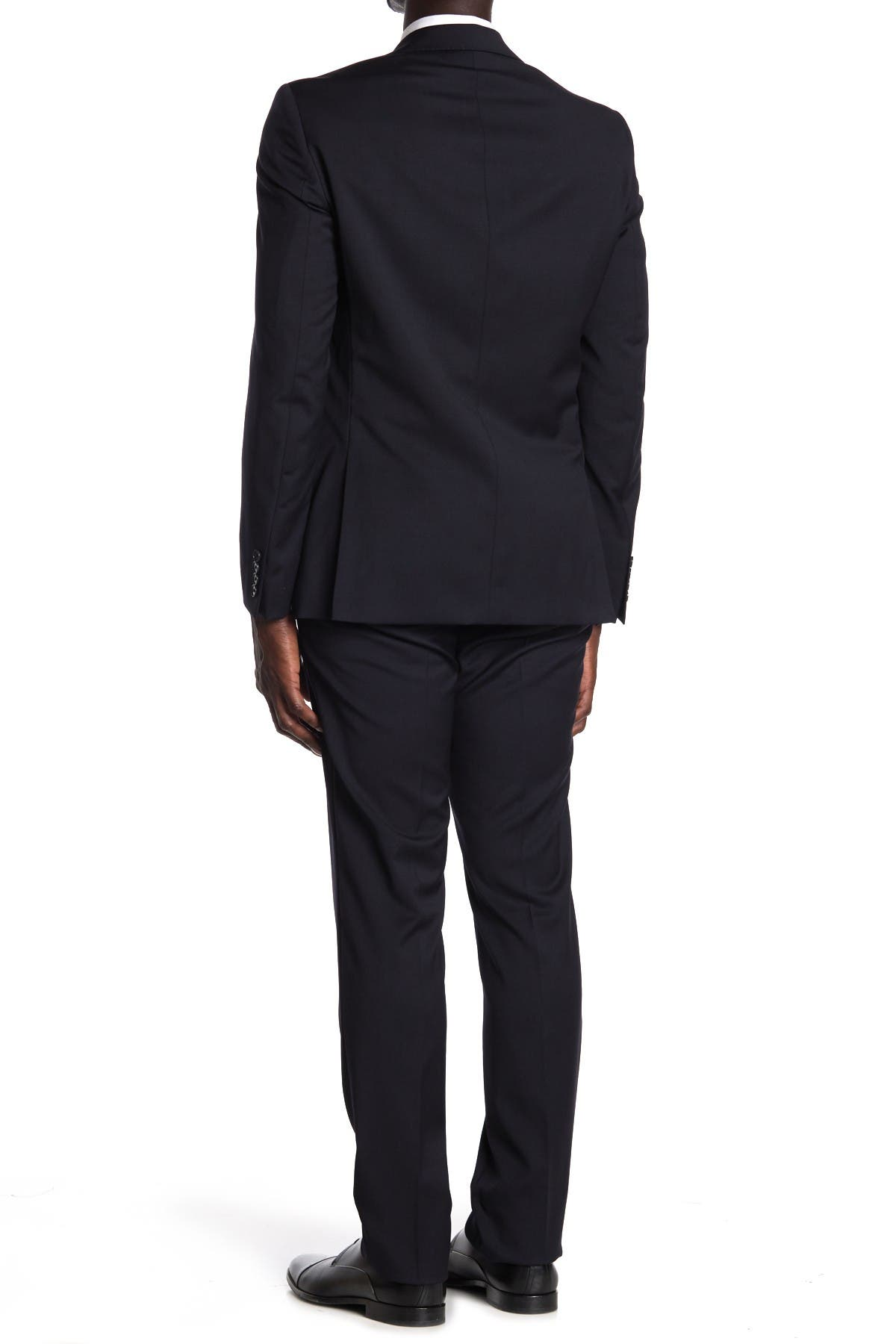 Image of Calvin Klein Navy Wool Two Button Notch Lapel Suit