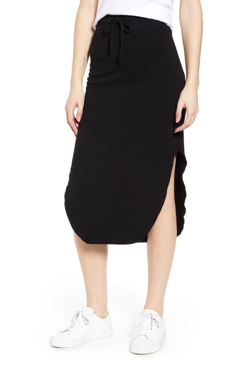 FRANK & EILEEN Tee Lab Long Fleece Skirt, Main, color, BLACK