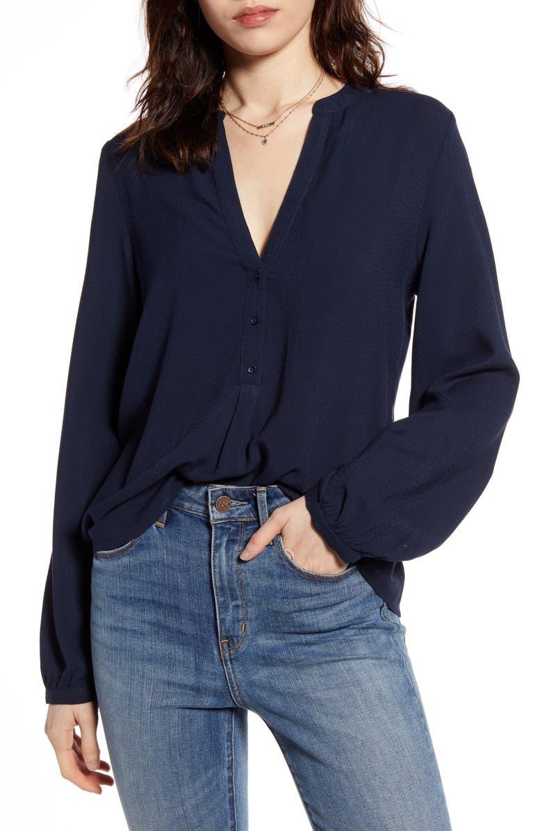 TREASURE & BOND Popover Long Sleeve Blouse, Main, color, NAVY BLAZER