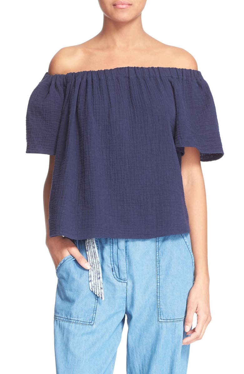 REBECCA TAYLOR Off the Shoulder Cotton Top, Main, color, 410