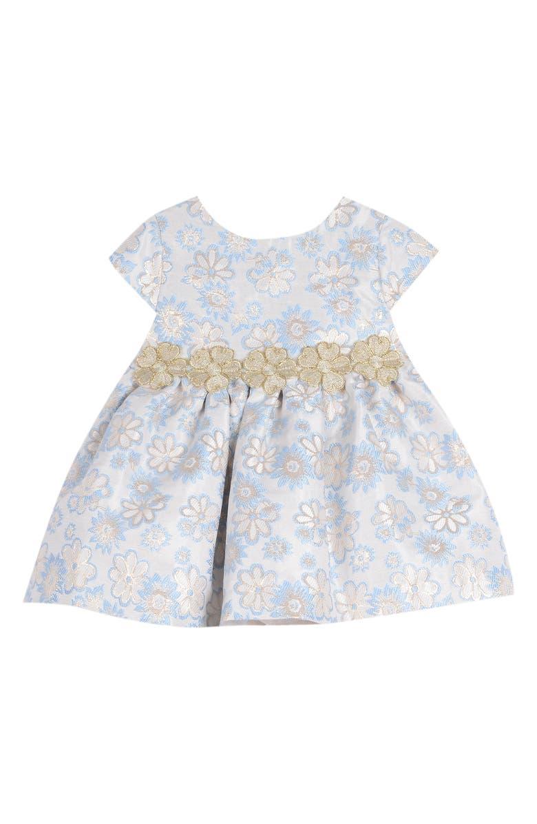 PIPPA & JULIE Metallic Brocade Dress, Main, color, BLUE/ GOLD