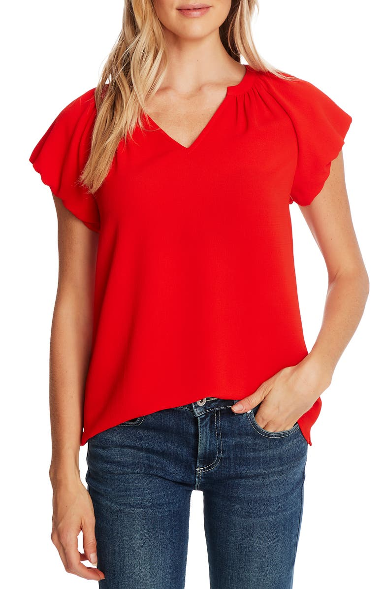 CECE Bubble Sleeve V-Neck Top, Main, color, CANDY APPLE