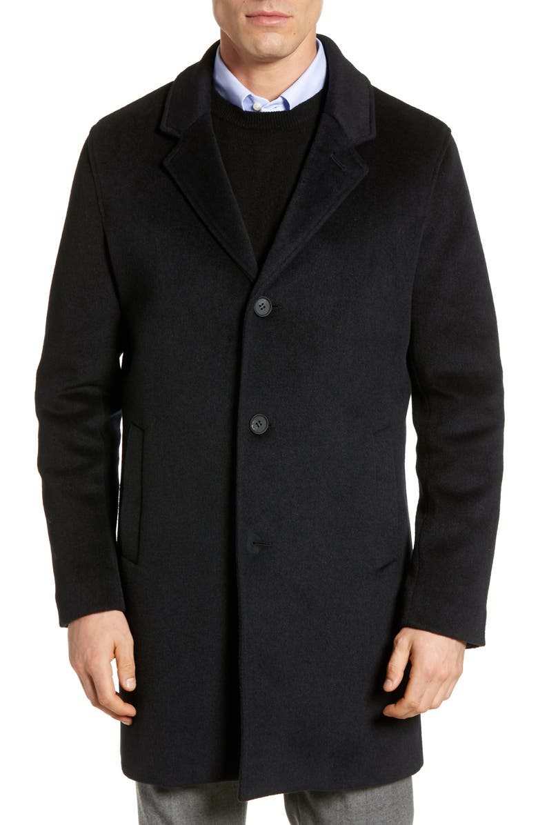 COLE HAAN Regular Fit Stretch Wool Coat, Main, color, NAVY