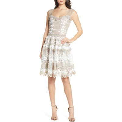 Bronx And Banco Marie Floral Lace Bell Skirt Party Dress, Ivory