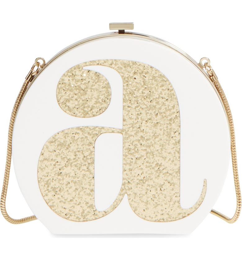 KATE SPADE NEW YORK 'initial' box clutch, Main, color, 100