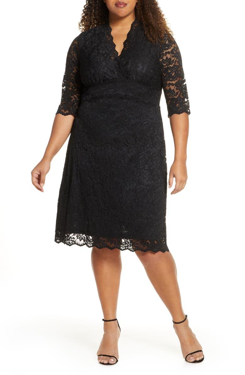 KIYONNA Scalloped Boudoir Lace Sheath Dress, Main, color, 002