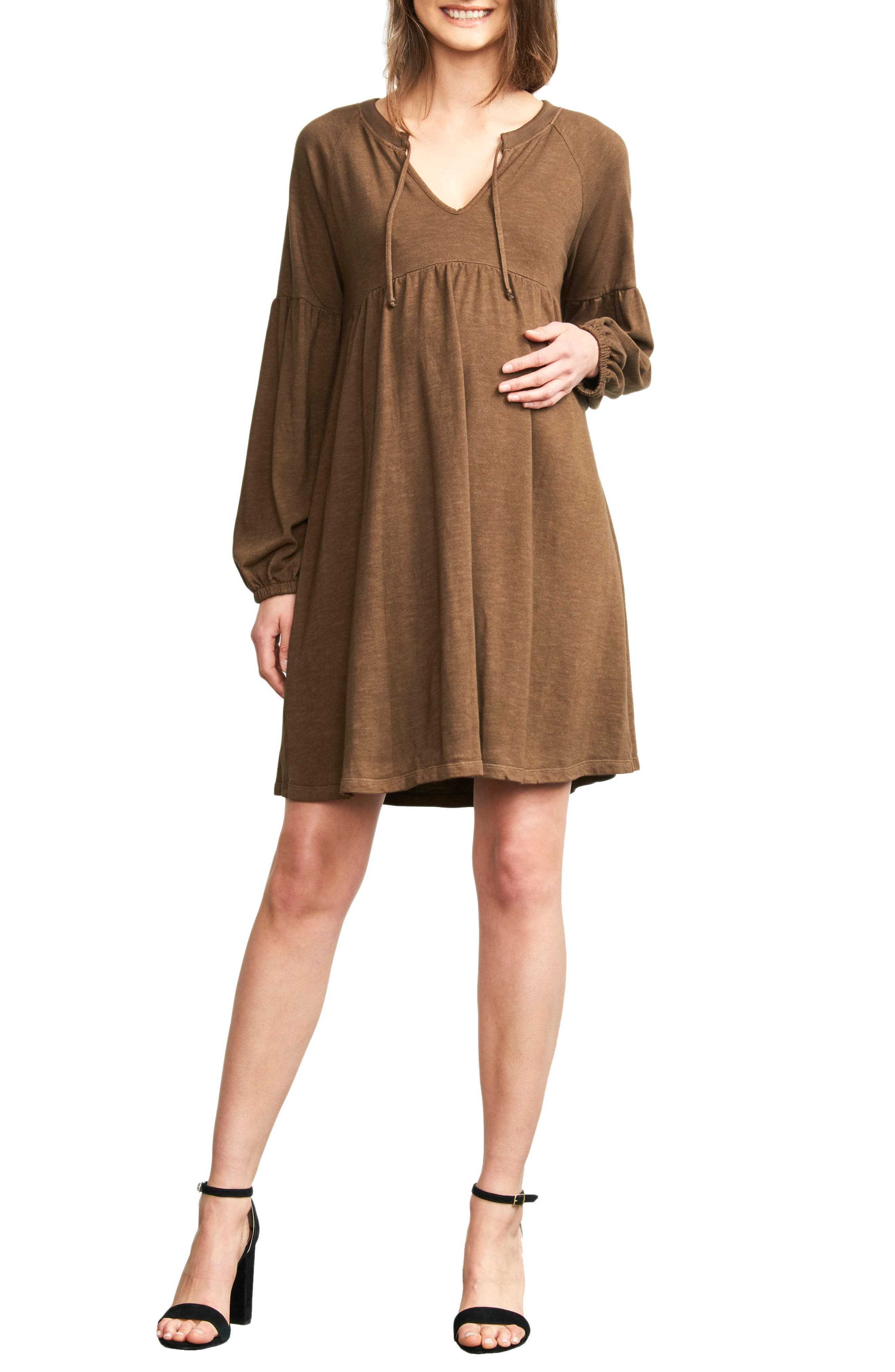 Maternal America Drawstring Neck Maternity Dress, Brown