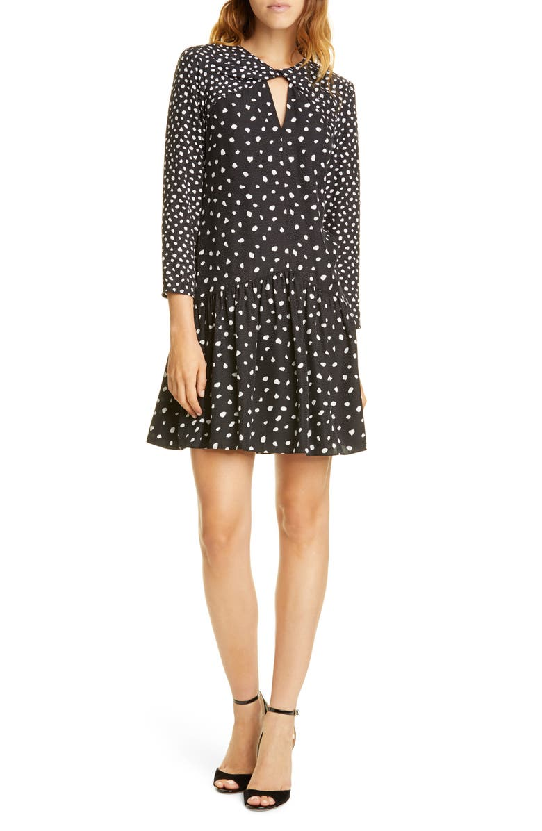 REBECCA TAYLOR Twist Detail Long Sleeve Silk Blend Dress, Main, color, BLACK