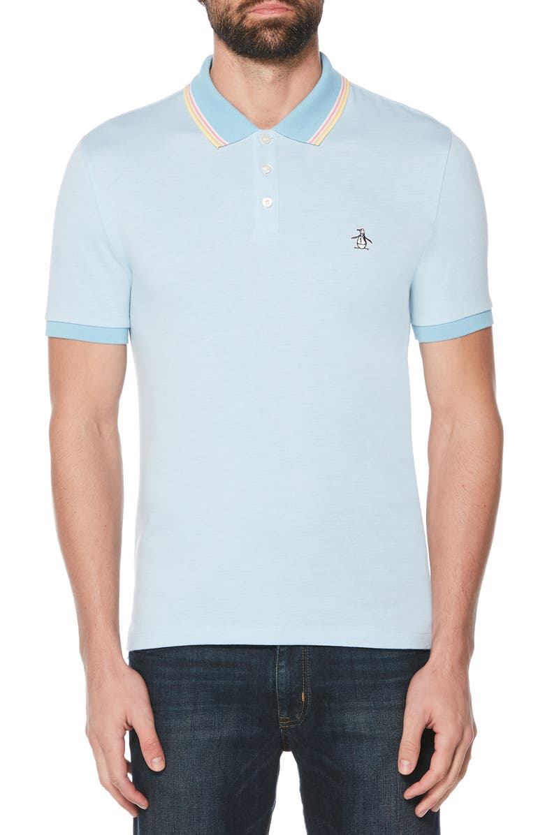 ORIGINAL PENGUIN Tipped Bird's Eye Piqué Polo, Main, color, AIR BLUE