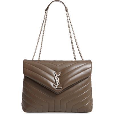 Saint Laurent Medium Loulou Calfskin Leather Shoulder Bag - Brown